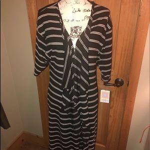 NWT S LLR Black & White Striped Shirley